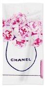 Chanel Bag With Pink Peonys Bath Towel