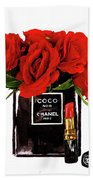 Chanel Perfume With Red Roses Hand Towel