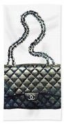 Chanel Quilted Handbag Classic Watercolor Fashion Illustration Coco Quotes Bath Towel by Laura Row