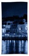 Chania By Night In Blue Bath Towel