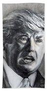 Charcoal Portrait Of The Donald Bath Towel