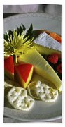 Cheese Wedges With Crackers And Fruit Bath Towel