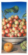 Cherries In Delft Bowl With Red And Yellow Apple Bath Towel