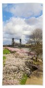 Cherry Blossom Trees At Portland Waterfront Bath Towel