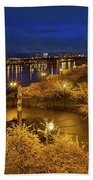 Cherry Blossom Trees At Portland Waterfront Park During Blue Hou Hand Towel