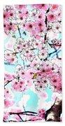 Cherry Blossom Watercolor Bath Towel