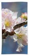 Cherry Blossoms On Blue Bath Towel