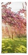 Cherry Flowers Garden Illuminated With Sunrise Beams Bath Towel