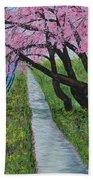 Cherry Trees- Pink Blossoms- Landscape Painting Bath Towel