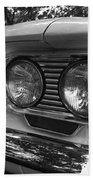 Chevy Corvair Headights And Bumper Black And White Bath Towel