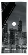 Chicago Black And White Nights Bath Towel