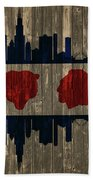 Chicago Flag Barn Door Bath Towel