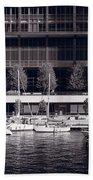 Chicago River Boats Bw Bath Towel