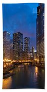 Chicago River Lights Hand Towel