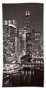 Chicago River Panorama B W Hand Towel