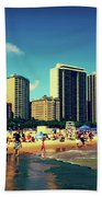 Chicago Summer Skyline At Oak Street Beach Bath Towel