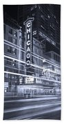 Chicago Theater Marquee B And W Hand Towel