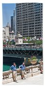 Chicago's Dusable Bridge On N. Michigan Avenue Bath Towel