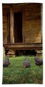 Chickens - Log House - Farm Bath Towel