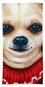 Chihuahua In Red Sweater - Boss Dog Bath Towel