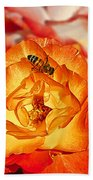 Chihuly Rose With Bee Bath Towel