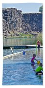 Children Playing In Dierkes Lake In Snake River Above Shoshone Falls Near Twin Falls-idaho  Bath Towel