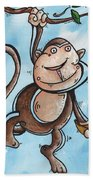 Childrens Whimsical Nursery Art Original Monkey Painting Monkey Buttons By Madart Bath Towel