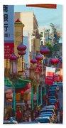Chinatown Street Scene Bath Towel