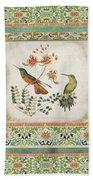 Triptych - Chinoiserie Vintage Hummingbirds N Flowers Bath Towel