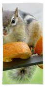 Chipmunk And Oranges 2 Bath Towel