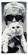 Choupette Cat And Karl Lagerfeld Bath Towel by Laura Row