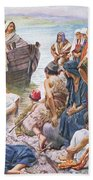 Christ Preaching From The Boat Bath Towel