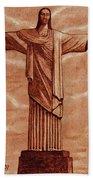 Christ The Redeemer Statue Original Coffee Painting Bath Towel