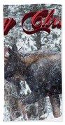 Christmas Bull Moose Bath Towel