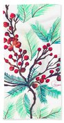 Christmas Holly Bath Towel