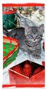 Christmas Kitten  Bath Towel