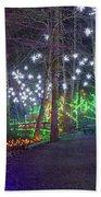 Christmas Lights Decoration Along Lafarge Lake Path Bath Towel