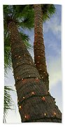Christmas Lights On Palm Trees Bath Towel