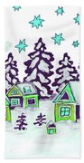 Christmas Picture In Green And Blue Colours Bath Towel