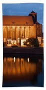 Church Of Our Lady On Sand In Wroclaw By Night Bath Towel