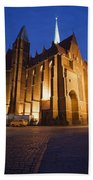 Church Of The Holy Cross By Night In Wroclaw Bath Towel
