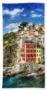 Cinque Terre - Riomaggiore From Above- Vintage Version Bath Towel