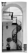 Circular Staircase In Black And White Bath Towel