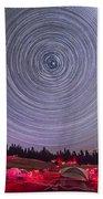Circumpolar Star Trails Above The Table Bath Towel