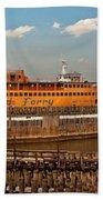 City - Ny - The Staten Island Ferry - Panorama Bath Towel