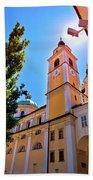 City Of Ljubljana Church And Square View Bath Towel