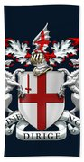 City Of London - Coat Of Arms Over Blue Leather  Hand Towel
