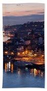 City Of Porto In Portugal At Dusk Bath Towel