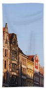 City Of Wroclaw Old Town Skyline At Sunset Bath Towel