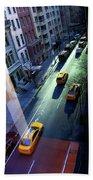 City Street Aerial New York Bath Towel
